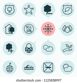 Eco-friendly icons set with no bonfire, cut tree, sunny weather and other delete woods elements. Isolated vector illustration eco-friendly icons.