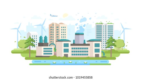 Eco-friendly industry - modern flat design style vector illustration on white background. An urban landscape with a big factory with waste treatment facilities, windmills, trees, a pond