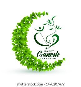ecofriendly lord ganesha leaves background
