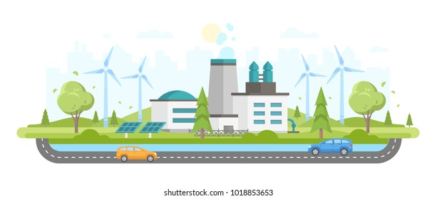 Eco-friendly plant - modern flat design style vector illustration on white urban background. A composition with a big factory, solar panels, windmills, trees, cars on the road