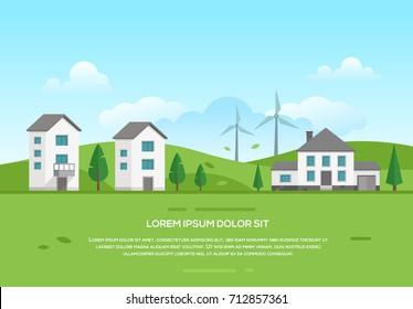 Ecofriendly town with windmills - modern vector illustration with place for text. Landscape in green and blue colors with trees, small cute low storey suburban houses, blue sky with clouds, park