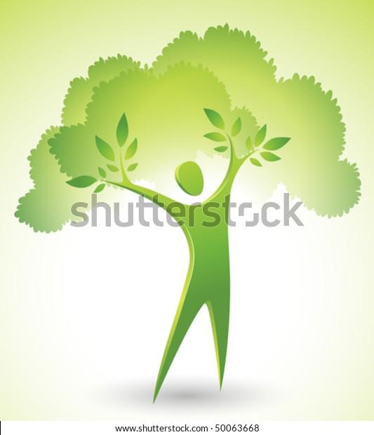 Eco-icon of a green tree man