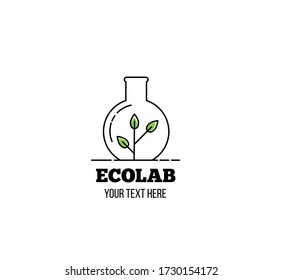 Ecolab Icon with Green Sprout in Glass Line Art