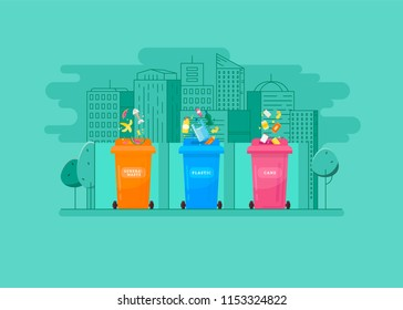 Ecologic concept.  Trash sorting into the multic-colored containers with cityscape background