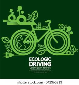 Ecologic Driving Green Concept Vector Illustration