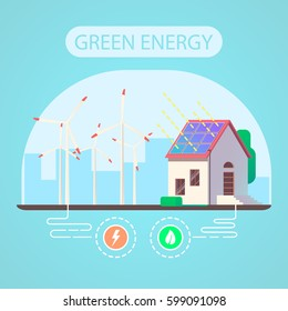 Ecologic house and green energy concept. Flat vector illustration.