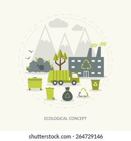 Ecologic recycling and waste utilization concept in flat style