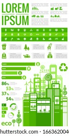 Ecological abstract stylish cityscape infographics. Infographics elements collection with town, city, human resourses, population statistics elements