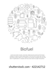 Ecological banner. Environment and biofuels. Auto and petrol station. Hybrids and green cars. Production of biofuels and vehicle refueling.