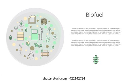 Ecological banner. Environment and biofuels. Icons concern about the nature and place for your text. Colored vector illustration . Auto and petrol station. Hybrids and green cars