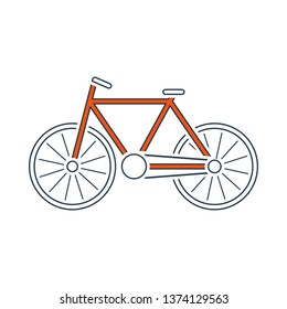 Ecological Bike Icon. Thin Line With Red Fill Design. Vector Illustration.
