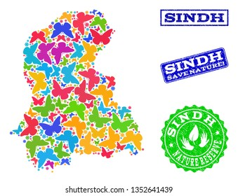 Ecological combination of bright mosaic map of Sindh Province and scratched stamps with Save Nature caption. Mosaic map of Sindh Province constructed with bright colored butterflies.