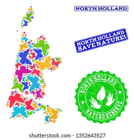 Ecological combination of bright mosaic map of North Holland and unclean seals with Nature Reserve text. Mosaic map of North Holland constructed with bright colored butterflies.