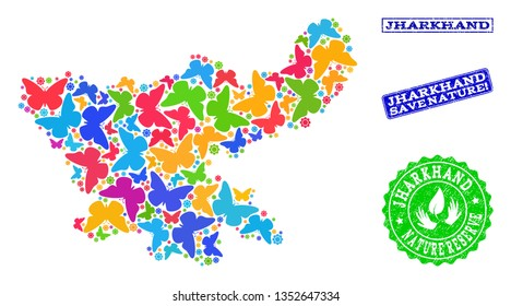 Ecological combination of bright mosaic map of Jharkhand State and rubber stamps with Nature Reserve caption. Mosaic map of Jharkhand State constructed with colorful butterflies.