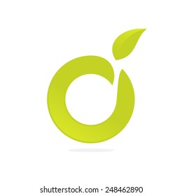 Ecological company O letter green logo icon