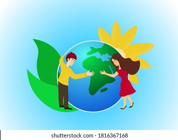 Ecological concept Earth in the hands of a man and a woman, human care for the planet, love for the Earth