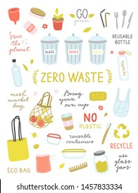 Ecological concept with zero waste illustrations. Vector symbols for green life. Recycle concept and lifestyle icons