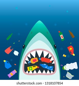Ecological disaster of plastic garbage in the ocean. A scary shark in with open mouth eats plastic trash amid polluted sea. flat vector illustration