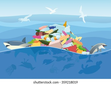 Ecological disaster of plastic trash in the ocean. Dead turtle, jellyfish, seabirds and fish on a background of debris at the sea.