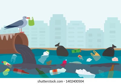 Ecological disaster of plastic waste in the river. City gutter flows into the lake polluted with plastic and household garbage. bird with a plastic bag in its beak. flat vector illustration