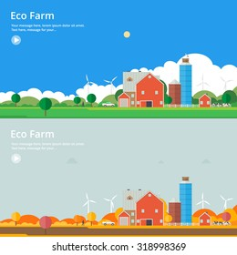 Ecological Farm in different seasons: summer - autumn