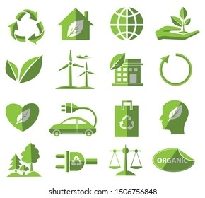 ecological flat icon set, green vector environment, energy sign and biological symbol concept on white background
