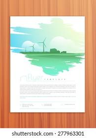 Ecological flyer, template or brochure design on wooden background.