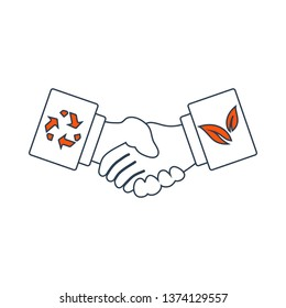 Ecological Handshakes Icon. Thin Line With Red Fill Design. Vector Illustration.