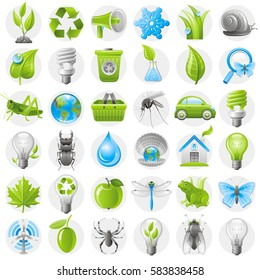Ecological icon set green blue icons isolated background. Environment protection concept. Recycle symbol, Earth globe, garbage can, electric car, light bulb, insect, organic food, wind turbine, water