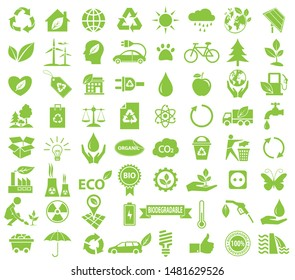 ecological icon set, green vector environment, energy sign and symbol concept on white background