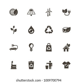 Ecological icons. Perfect black pictogram on white background. Flat simple vector icon.