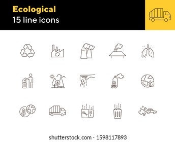 Ecological icons. Set of line icons. Air pollution, planet contamination, impact. Environment concept. Vector illustration can be used for topics like environment, nature, industry