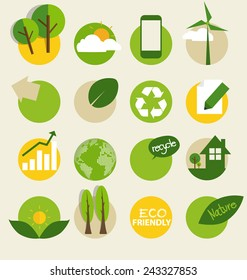 Ecological Icons. Vector illustration.