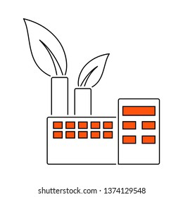 Ecological Industrial Plant Icon. Thin Line With Red Fill Design. Vector Illustration.