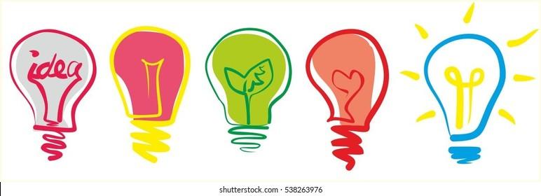 Ecological light bulbs. Green leaf energy.
