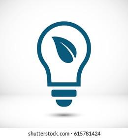 Ecological lightbulb icon stock vector illustration flat design