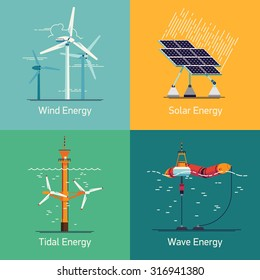Ecological low and zero emission renewable electricity power energy generation devices | Web backgrounds and icons on green power sources such as wind turbines, solar panels, tidal and wave energy