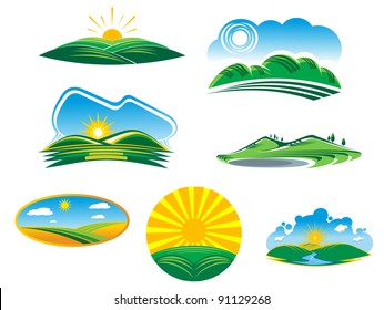 Ecological and nature symbols isolated on white, such a logo idea. Jpeg version also available in gallery