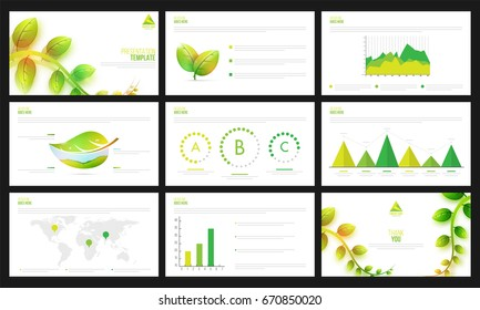 Ecological presentation templates set with green leaves and infographic elements.