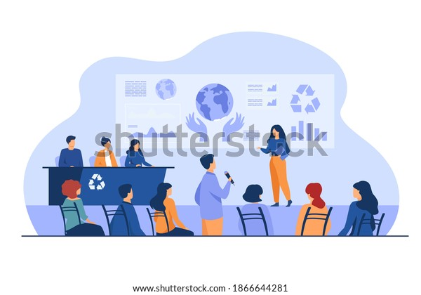 Ecological press conference member speaking on stage before audience, presenting graphs with earth. Vector illustration for global meeting, scientific forum, mass media concept