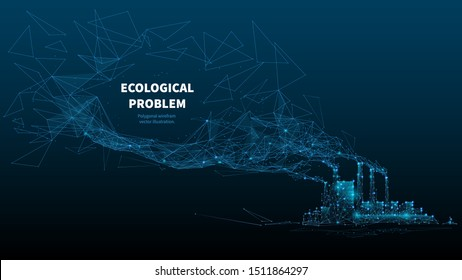 Ecological problem low poly art illustration. 3d polygonal factory pipes producing gases. Industrial air pollution concept with connected dots and lines. Environment problem vector wireframe mesh