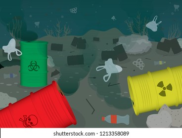 Ecological problems environmental ocean water pollution toxic water isolated