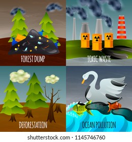 Ecological problems flat design concept with toxic waste garbage dumps deforestation and ocean pollution isolated vector illustration