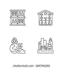 Ecological production linear icons set. Vertical garden. Greenhouse professional production. Customizable thin line contour symbols. Isolated vector outline illustrations. Editable stroke