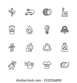 Ecological, Recycling outline icons set - Black symbol on white background. Ecological, Recycling Simple Illustration Symbol - lined simplicity Sign. Flat Vector thin line Icon - editable stroke