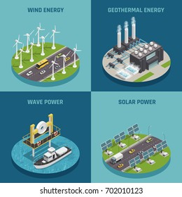 Ecological renewable green energy sources 4 isometric icons square poster with wind solar and power isolated vector illustration