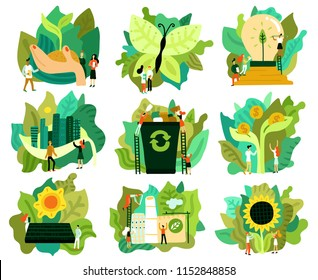 Ecological restoration set of flat icons saving forest green energy eco friendly city isolated vector illustration