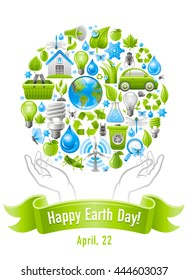 Ecological set poster design with human hands and icons for Earth day. Environment protection concept with recycling symbol, Earth globe, garbage can, electric car, light bulb, wind turbine, water