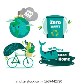 Ecological stickers. Collection of ecology stickers with slogans