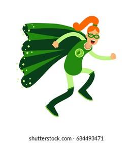 Ecological superhero redhead woman running, eco concept vector Illustration